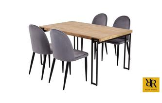 Rectangular Dining Table and Set of 4 Eryka Chairs