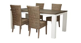Francine Medium Fixed Table & Set of 4 Rattan Chairs