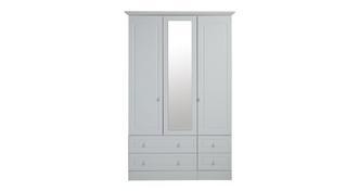Frozen 3 Door 4 Drawer Mirror Robe
