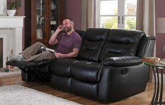 Garrick Leather and Leather Look 3 Seater Manual Recliner Essential