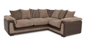 Genesis Left Hand Facing 2 Seater Pillow Back Corner Deluxe Sofa Bed with Removable Arm