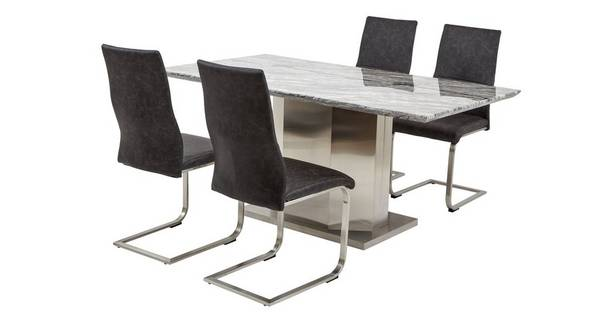 Genoa Dining Table & Set of 4 Cantilever Chairs