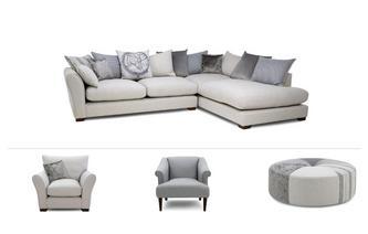 Large Corner Sofa, 2 Chairs & Stool