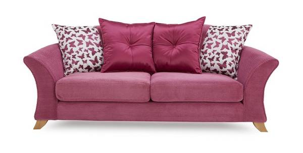 Gloss 3 Seater Pillow Back Sofa