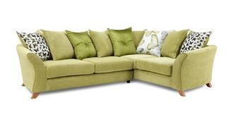 Gloss Left Hand Facing 2 Piece Pillow Back Corner Sofa