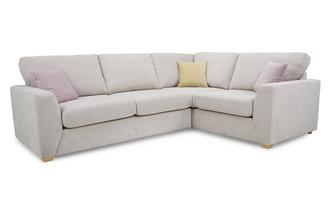 Left Hand Facing  2 Seater Corner Deluxe Sofa Bed Sherbet