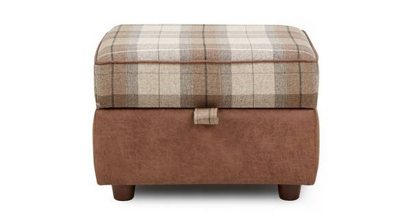 Granby Check Top Storage Footstool