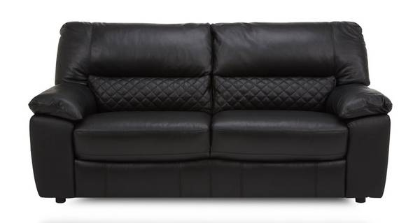 Grid Leather and Leather Look 3 Seater Sofa