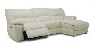 Grid Option B Leather and Leather Look Right Hand Facing Chaise End Manual Recliner Sofa