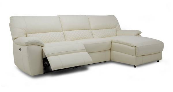 Grid Option C Leather and Leather Look Right Hand Facing Chaise End Electric Recliner Sofa Ultimate
