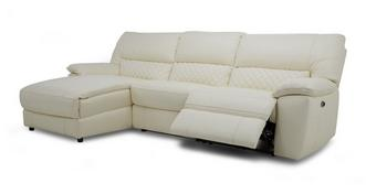 Grid Option F Leather and Leather Look Left Hand Facing Chaise End Electric Recliner Sofa