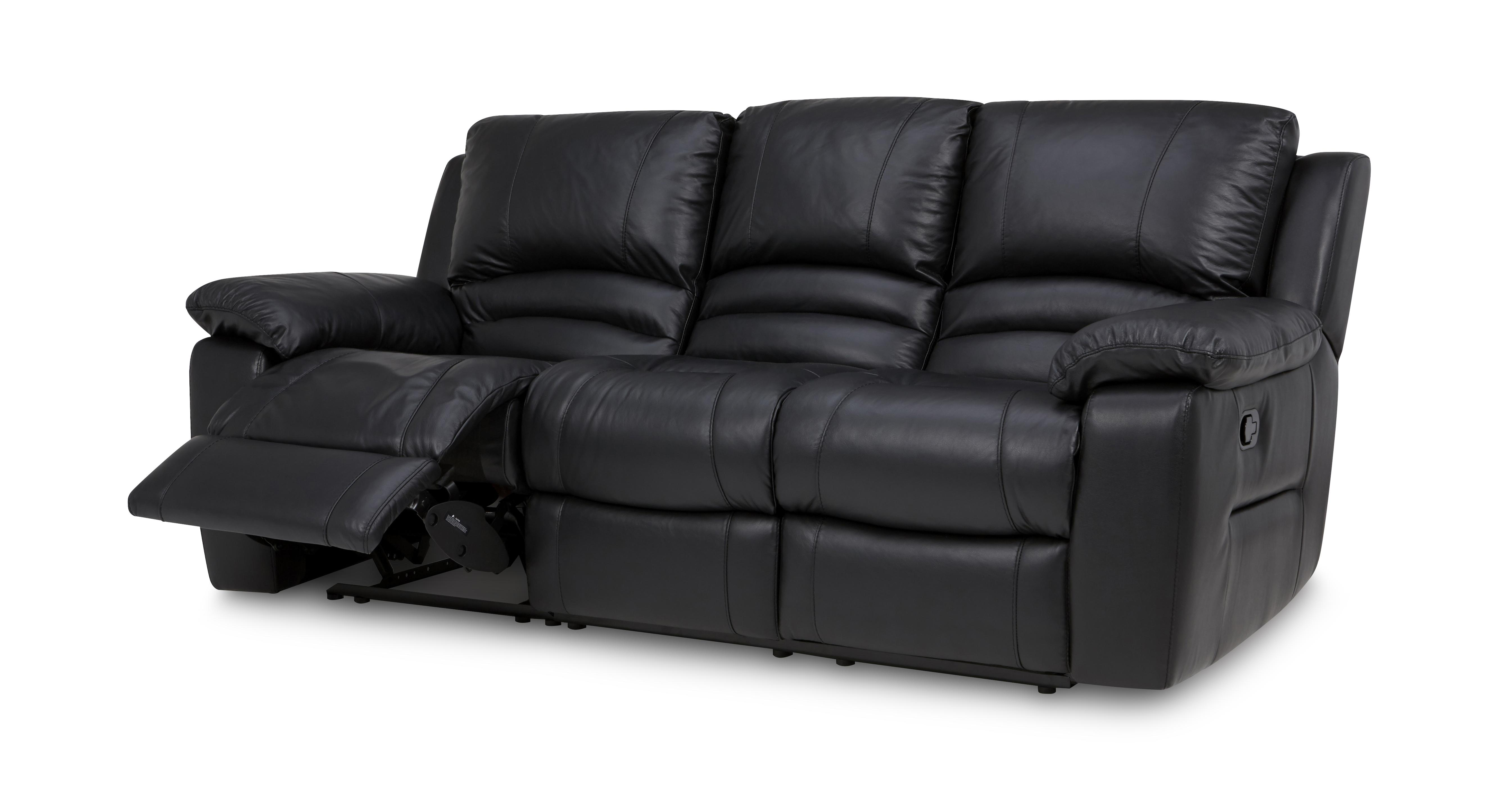Guild 3 Seater Manual Recliner Premium Dfs ~ Black Leather Sofa Chair