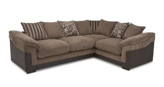 Hallow Left Hand Facing 2 Seater Pillow Back Corner Deluxe Sofa Bed