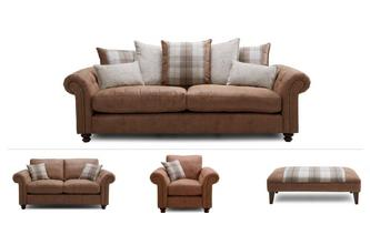 4 Seater Sofa, 2 Seater, Chair & 2 Stools