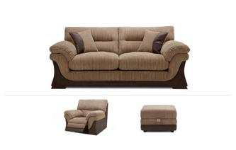 3 Seater, Recliner Chair & Footstool Samson
