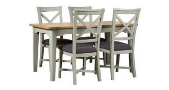 Harbour Kleine rechthoekige uitschuifbare eettafel en set van 4 stoelen met kruis rug