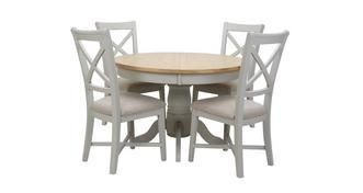 Harbour Ronde uitstrekt eettafel en reeks van 4 stoelen