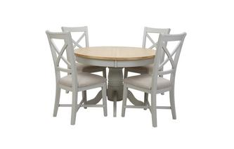 Round Extending Table & Set of 4 Dining Chairs