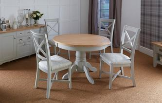 Harbour Round Extending Table & Set of 4 Dining Chairs Harbour
