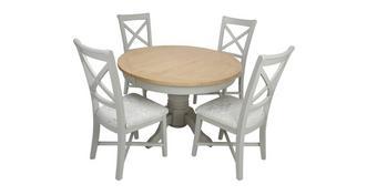 Harbour Ronde uitschuifbare eettafel en set van 4 stoelen met kruis rug Chairs