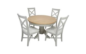 Round Extending Table & Set of 4 Cross Back Chairs Harbour