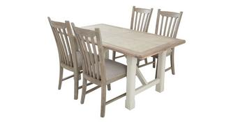 Hardwick Fixed Top Dining Table & Set of 4 Dining Chairs