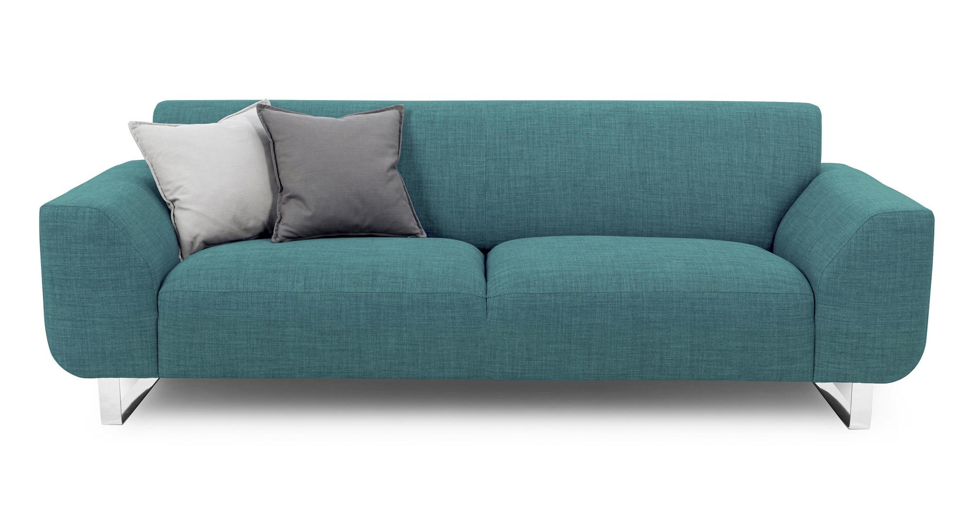 DFS Hardy Teal Fabric 3 Seater Sofa