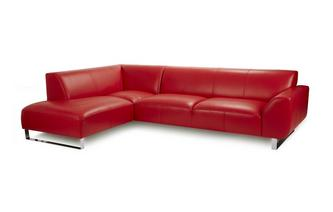 Leather Right Hand Facing Arm Corner Sofa
