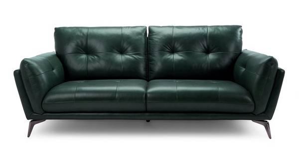 Harlan 3 Seater Sofa Palatial Dfs, Green Leather Furniture