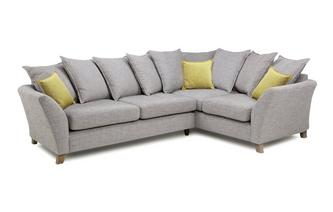 Left Hand Facing 3 Seater Pillow Back Corner Sofa Harlow