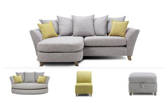 Harlow Clearance 4 Seater Lounger Sofa, Cuddler, Accent Chair & Stool Harlow
