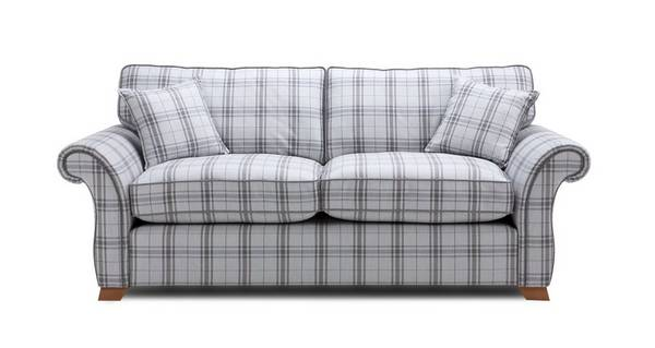 Harrow Plaid 3 Seater Formal Back Sofa