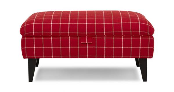 Hartley Plain Check Banquette Storage Footstool