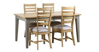 Helmsley Dining Fixed Top Table & 4 Slat Wood Back Chairs
