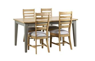 Fixed Top Table & 4 Slat Wood Back Chairs Helmsley