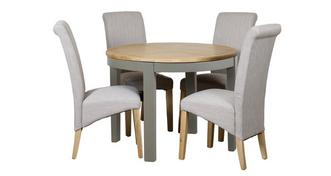 Helmsley Dining Round Extending Table & 4 Upholstered Chairs
