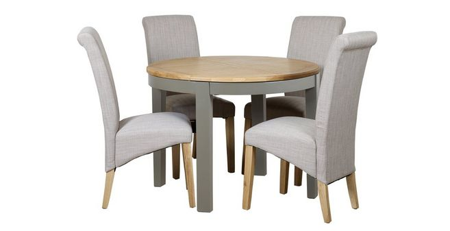 Peachy Helmsley Dining Round Extending Table 4 Upholstered Chairs Andrewgaddart Wooden Chair Designs For Living Room Andrewgaddartcom