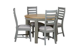 Round Extending Table & 4 Painted Chairs