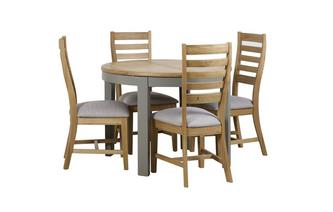 Round Extending Table & 4 Slat Wood Back Chairs