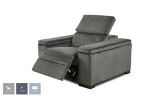Velvet Power Recliner Chair with Manual Headrest