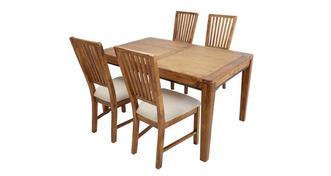 Holborn Rectangular Extending Table & Set of 4 Dining Chairs with Fabric Seat Pad