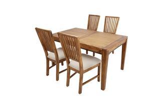 Rechthoekig uitstrekt eettafel en reeks van 4 stoelen met stof stoelkussen Holborn
