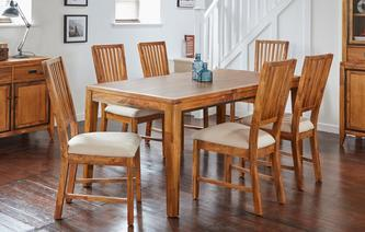 Holborn Rectangular Extending Table & Set of 4 Dining Chairs with Fabric Seat Pad Holborn