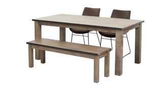 Houston Dining Table & Set of 2 Scoop Chairs and 1 Bench
