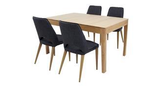 Hyatt Klein uitstrekt eettafel reeks van 4 gestoffeerd stoelen