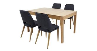 Hyatt Small Extending Table & Set of 4 Upholstered Chairs