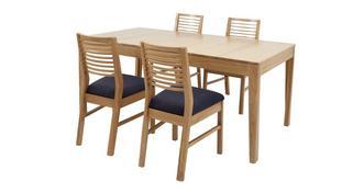Hyatt Klein uitstrekt eettafel reeks van 4 stoelen met horizontale latjes