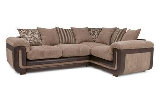 Left Hand Facing 2 Seater Pillow Back Corner Deluxe Sofa Bed
