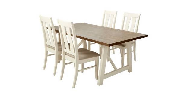 Ives Vaste eettafel en reeks van 4 stoelen