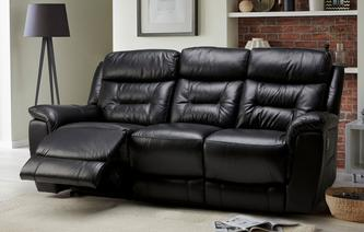 Jenson Leather and Leather Look 3 Seater Manual Recliner Premium
